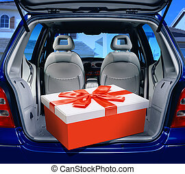 red present in a car - a fancy box in the passenger...