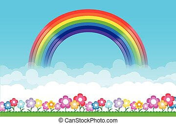 Rainbow on Nature background with green grass and flowers and blue sky