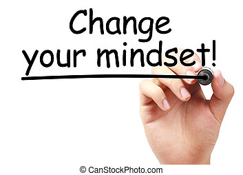 Change your mindset text is written on transparent white...