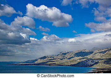 Velebit mountain seaside panoramic view, Dalmatia, Croatia