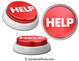 Button HELP - 3d image of button HELP White background