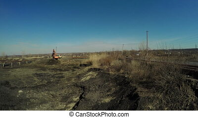 Ash dump thermal station - View over contaminated ash dumps...