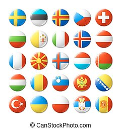 World flags round badges, magnets