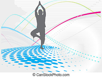yoga background - halftone wave line yoga illustration