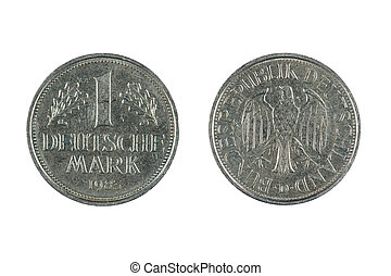 coin Deutschland - isolated object on white - coin...