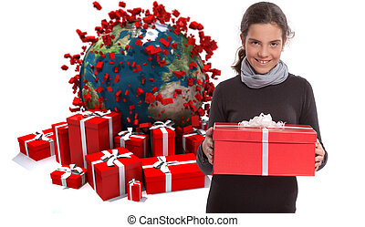 Young teenager with gifts in a world celebration - Young...