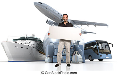 Travel agency message - 3D rendering of a man holding a...