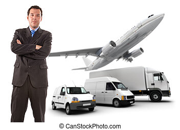 Businessman and transport logistics - Businessman standing...