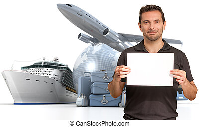Cruise promo - Smiling man holding a blank sign with an...