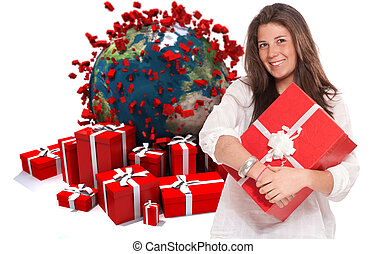 Brunette with gifts in world celebration - Young brunette...