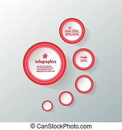 Red Circle business Infographics - metaball colorful round...