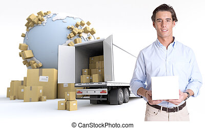 Product transportation - Young man holding a blank white box...