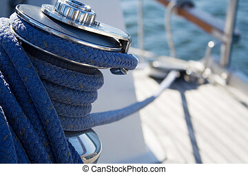 Sailboat - Tied knot on deck of sailboat