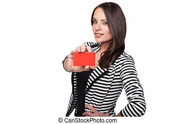 Close-up portrait of female holding credit card, shallow depth of field, focus on the card, over white background