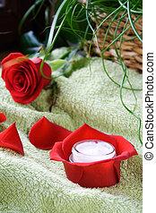 Skin moisture - Jar of skin moisture inside of red rose...