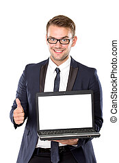 Young businessman bring the laptop, thumb up - A portrait of...