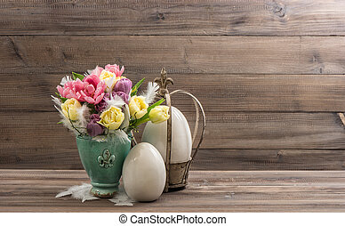 Spring tulip flowers and vintage easter eggs decoration...