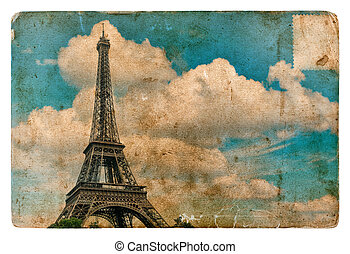 Vintage style postcard from Paris with Eiffel Tower. Grunge...