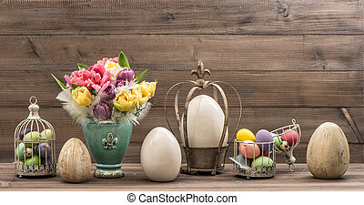 Vintage decoration with tulip flowers and easter eggs Retro...