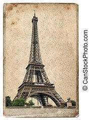 Vintage style postcard concept with Eiffel Tower Paris -...