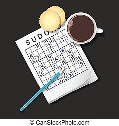 illustration of Sudoku game, mug of coffee and cracker - top...