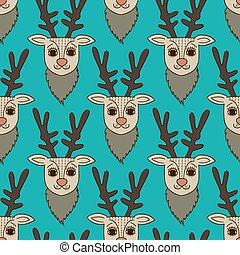 teal deer seamless pattern