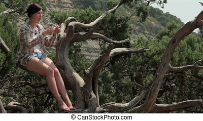 Girl takes a photos - Girl sitting on a tree and takes a...