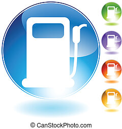 gas pump crystal icon - gas pump crystal isolated on a white...