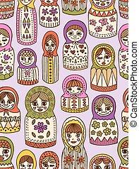 russian doll seamless pattern