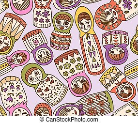 russian doll seamless pattern