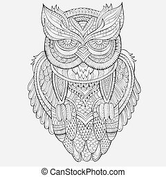 Decorative ornamental Owl - Decorative abstract ornamental...
