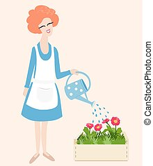 Spring gardening vector illustration with a cute happy...