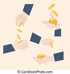 Various poses of a hand holding gold coins - Various poses...