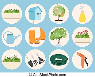 Spring gardening icons set with assorted round icons...