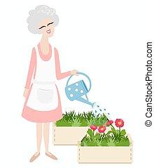 Elderly grandmother watering her plants - Elderly...