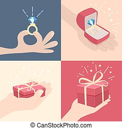 Set of hands with gifts - Set of vector cartoon...