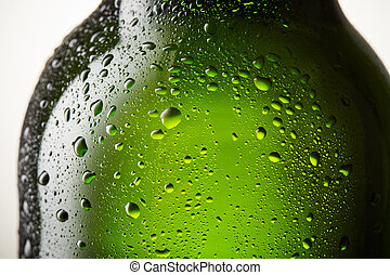 Close up drops of a ice cold bottle of Beer