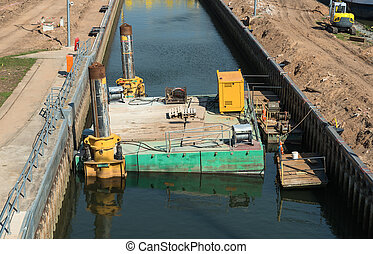 Construction in a watergate main river germany