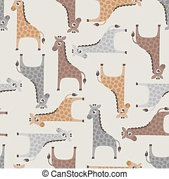 seamless giraffe cartoon pattern