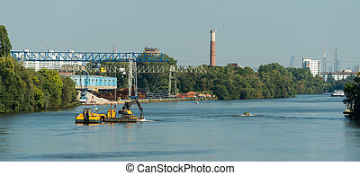 floater dredge in action main river germany