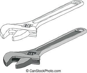Adjustable spanner - An adjustable spanner, shifting...