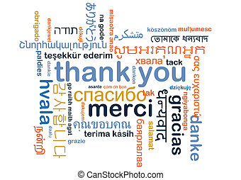Thank you multilanguage wordcloud background concept -...