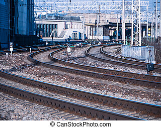 perspective view on many railway track lines