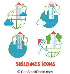 Buildings icons set - global concept