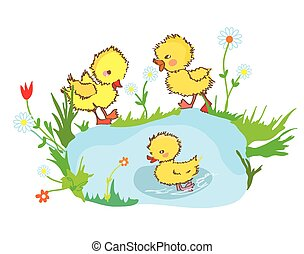 Funny ducks in the pond and flowers - illustration