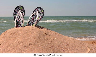 Relax on the beach - Flip flops on the sand The kids run...