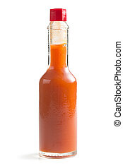 red tabasco on white background