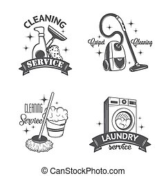 Set of vintage logos, labels and badges cleaning services....