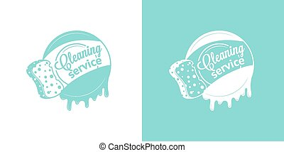 Cleaning Service Vector Vintage Logos in two color