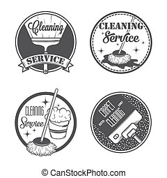 Set of vintage logos, labels and badges cleaning services...